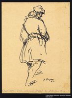 2005.181.29 front Drawing by Alexander Bogen of a partisan walking with his hands in his pockets  Click to enlarge