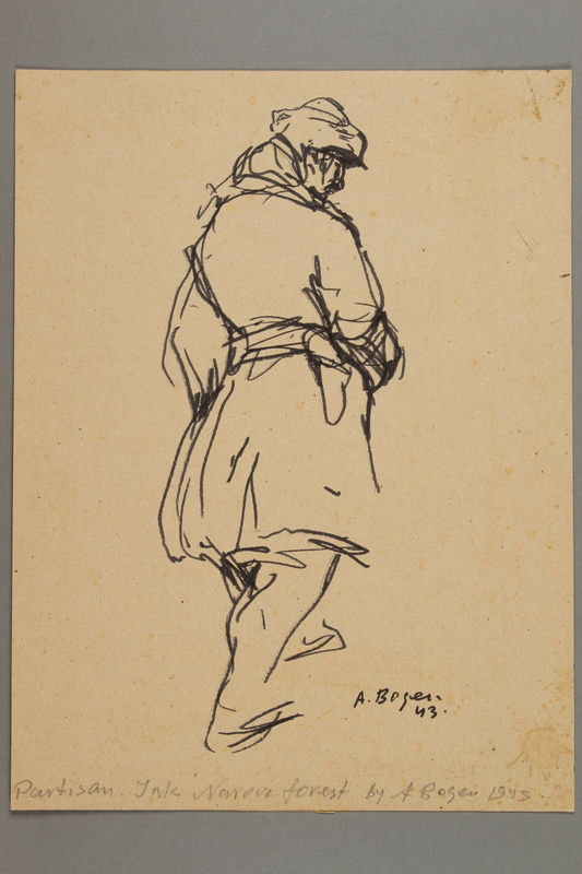 2005.181.29 front Drawing by Alexander Bogen of a partisan walking with his hands in his pockets