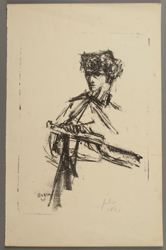 2005.181.30 front Lithograph by Alexander Bogen of a partisan