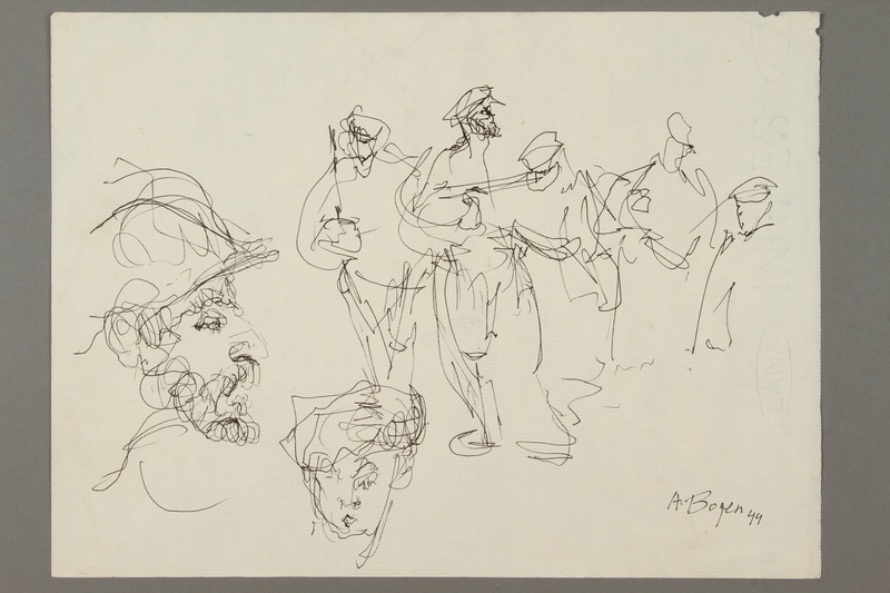 2005.181.31 front Drawing by Alexander Bogen of partisans in armed procession