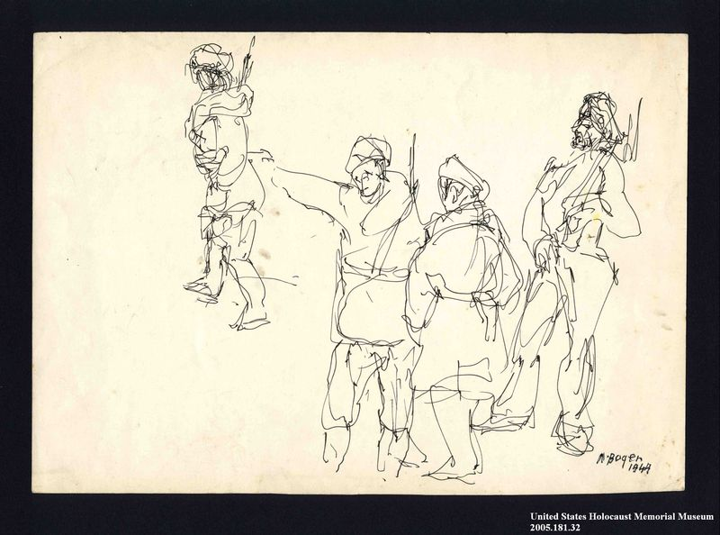 2005.181.32 front Drawing by Alexander Bogen of four armed partisans standing together