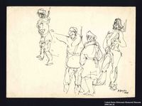 2005.181.32 front Drawing by Alexander Bogen of four armed partisans standing together  Click to enlarge