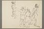 Drawing by Alexander Bogen of four armed partisans standing together