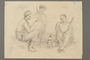 Drawing by Alexander Bogen of three partisans eating around a camp stove