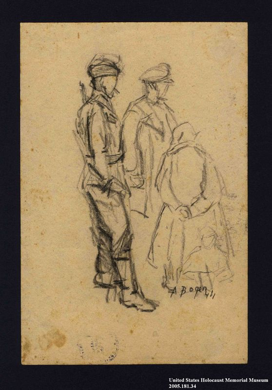 2005.181.34 front Drawing by Alexander Bogen of three partisans standing together in conversation