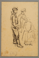 2005.181.34 front Drawing by Alexander Bogen of three partisans standing together in conversation  Click to enlarge