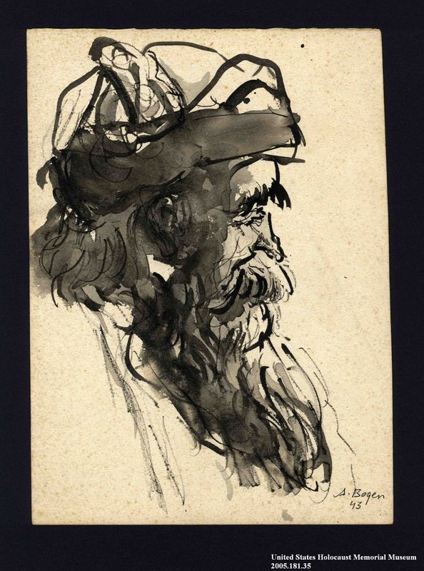 2005.181.35 front Portrait of a bearded partisan, drawn by Alexander Bogen