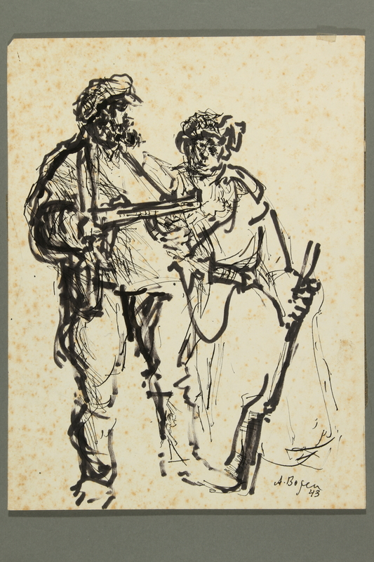 2005.181.36 front Drawing by Alexander Bogen of two partisans standing in conversation