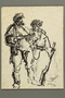 Drawing by Alexander Bogen of two partisans standing in conversation