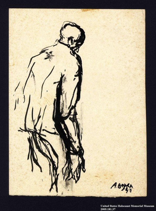 2005.181.37 front Drawing by Alexander Bogen of a man standing in a stooped posture