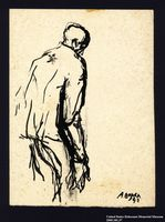 2005.181.37 front Drawing by Alexander Bogen of a man standing in a stooped posture  Click to enlarge