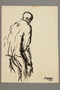 Drawing by Alexander Bogen of a man standing in a stooped posture