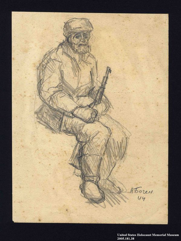 2005.181.38 front Drawing by Alexander Bogen of a bearded partisan, seated and holding a rifle