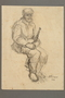 Drawing by Alexander Bogen of a bearded partisan, seated and holding a rifle