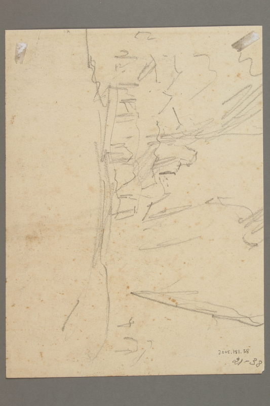 2005.181.38 back Drawing by Alexander Bogen of a bearded partisan, seated and holding a rifle