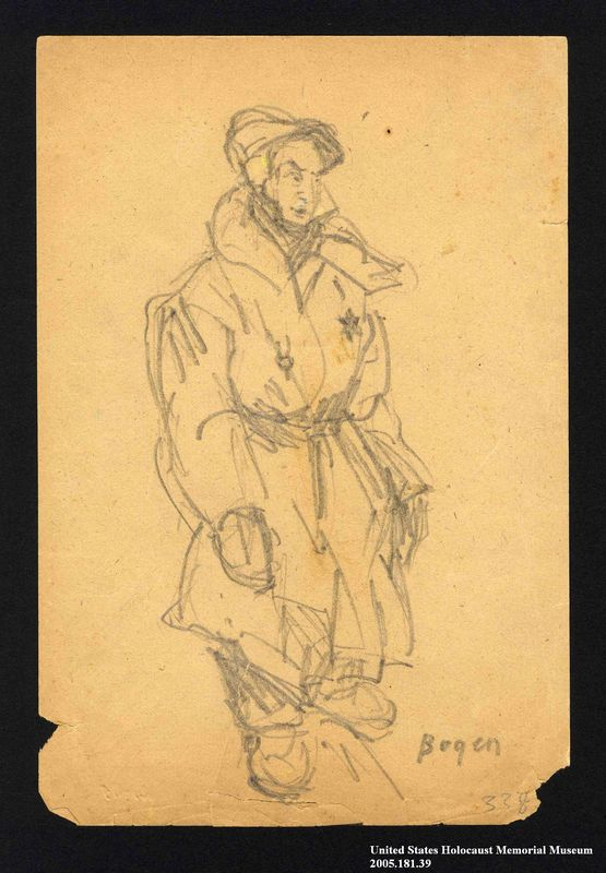 2005.181.39 front Drawing by Alexander Bogen of a man wearing a six-pointed star