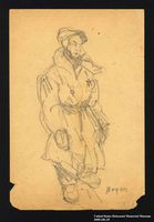 2005.181.39 front Drawing by Alexander Bogen of a man wearing a six-pointed star  Click to enlarge