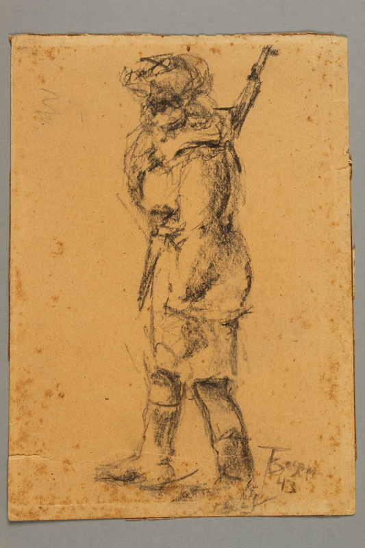 2005.181.40 front Drawing by Alexander Bogen of a female partisan