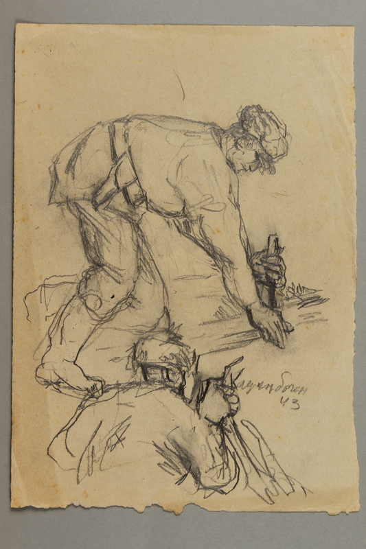 2005.181.42 front Drawing by Alexander Bogen of two partisans crouched on the ground, working with a tool