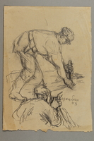 2005.181.42 front Drawing by Alexander Bogen of two partisans crouched on the ground, working with a tool  Click to enlarge