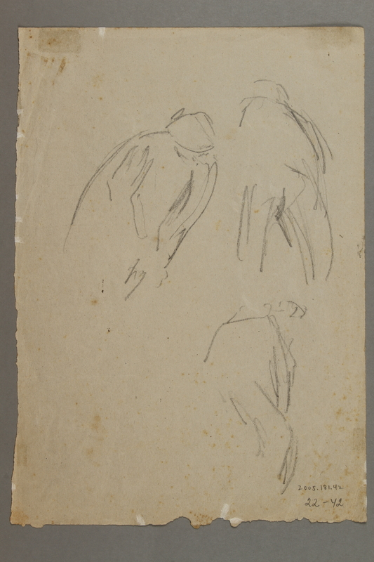 2005.181.42 back Drawing by Alexander Bogen of two partisans crouched on the ground, working with a tool