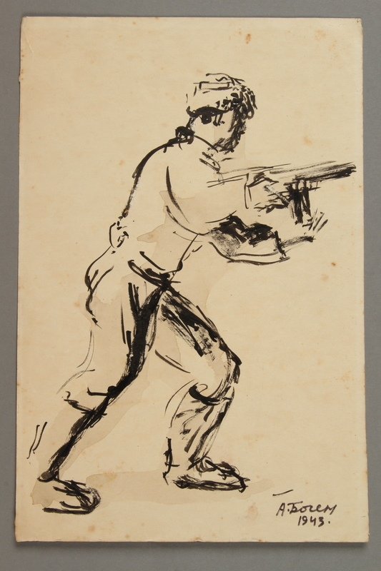 2005.181.44 front Drawing by Alexander Bogen of a partisan advancing with a rifle