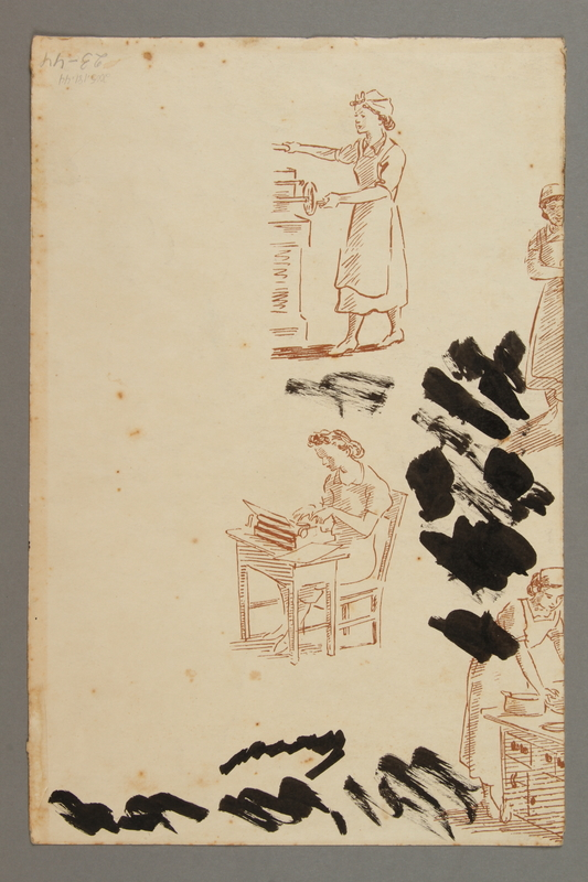 2005.181.44 back Drawing by Alexander Bogen of a partisan advancing with a rifle