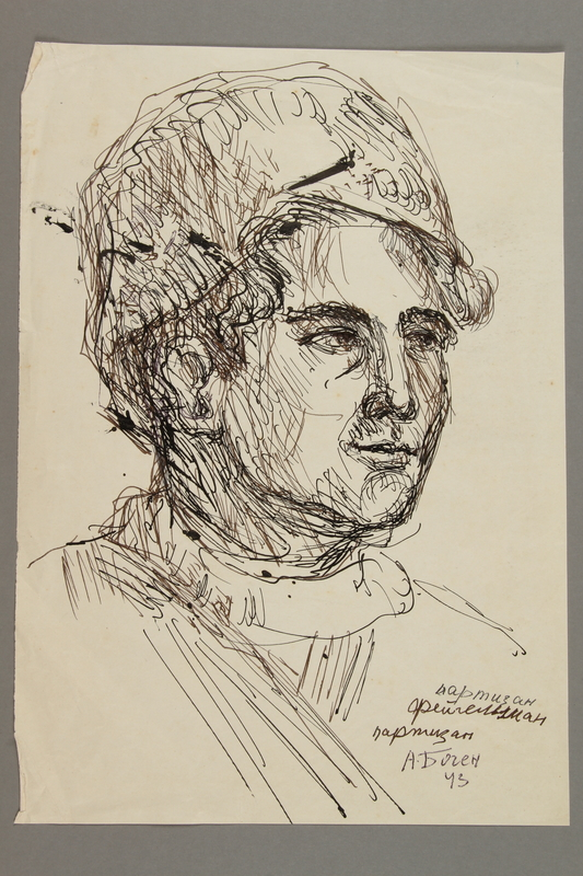 2005.181.45 front Portrait of a partisan, drawn by Alexander Bogen