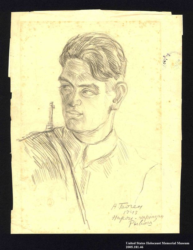 2005.181.46 front Portrait of a partisan, drawn by Alexander Bogen