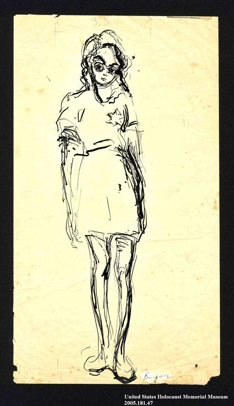 2005.181.47 front Drawing by Alexander Bogen of a girl wearing a six-pointed star
