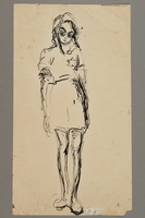 2005.181.47 front Drawing by Alexander Bogen of a girl wearing a six-pointed star  Click to enlarge