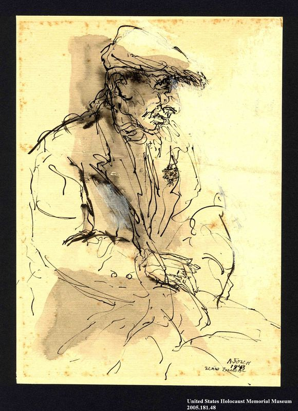 2005.181.48 front Drawing by Alexander Bogen of an old man wearing a six-pointed star