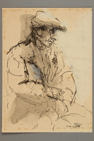 2005.181.48 front Drawing by Alexander Bogen of an old man wearing a six-pointed star  Click to enlarge
