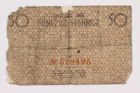 2005.260.3 back Łódź ghetto scrip, 50 pfennig note, saved from the ghetto  Click to enlarge