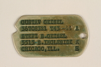2005.288.3 front Metal identification tag used by Jewish refugees from Nazi Germany to the US  Click to enlarge