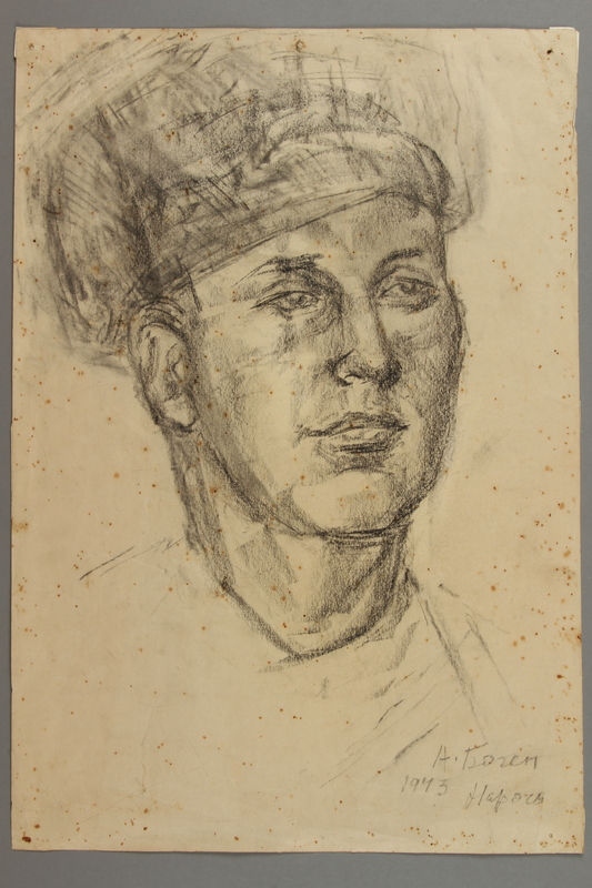 2005.181.49 front Portrait of a partisan, drawn by Alexander Bogen