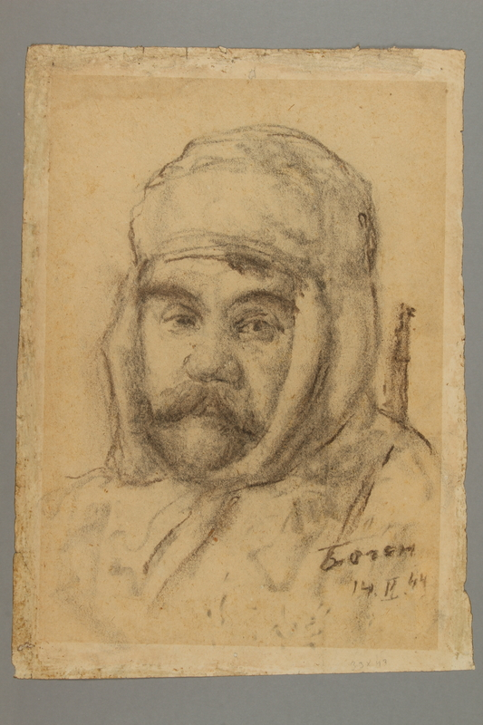 2005.181.50 front Portrait of a partisan with a mustache, drawn by Alexander Bogen