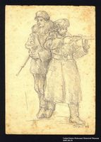 2005.181.51 front Drawing by Alexander Bogen of two armed partisans standing together  Click to enlarge