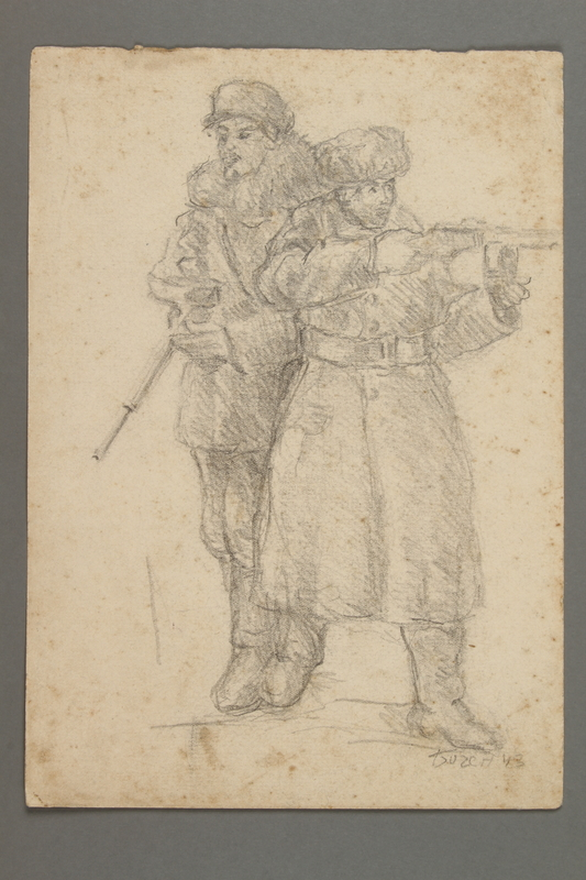 2005.181.51 front Drawing by Alexander Bogen of two armed partisans standing together