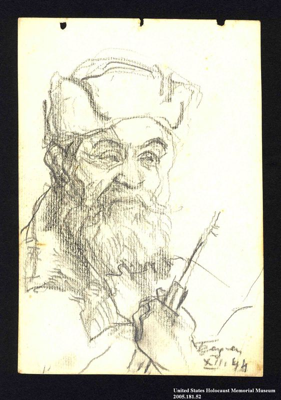 2005.181.52 front Portrait of a bearded partisan, drawn by Alexander Bogen
