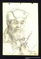 2005.181.52 front Portrait of a bearded partisan, drawn by Alexander Bogen  Click to enlarge