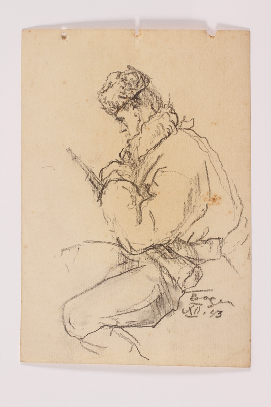 2005.181.53 front Drawing by Alexander Bogen of a partisan sitting with a rifle across his lap