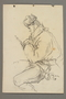 Drawing by Alexander Bogen of a partisan sitting with a rifle across his lap
