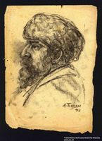 2005.181.55 front Portrait of a bearded partisan, drawn by Alexander Bogen  Click to enlarge
