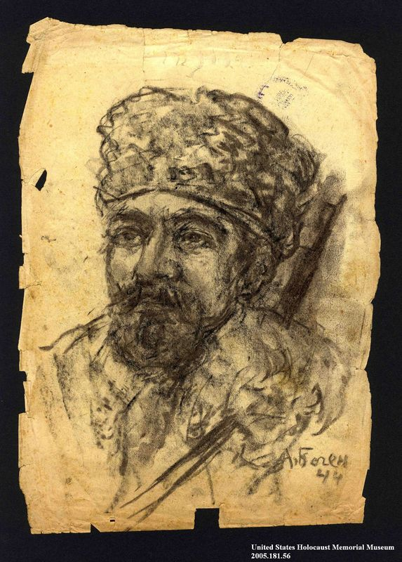 2005.181.56 front Portrait of a partisan with a goatee, drawn by Alexander Bogen