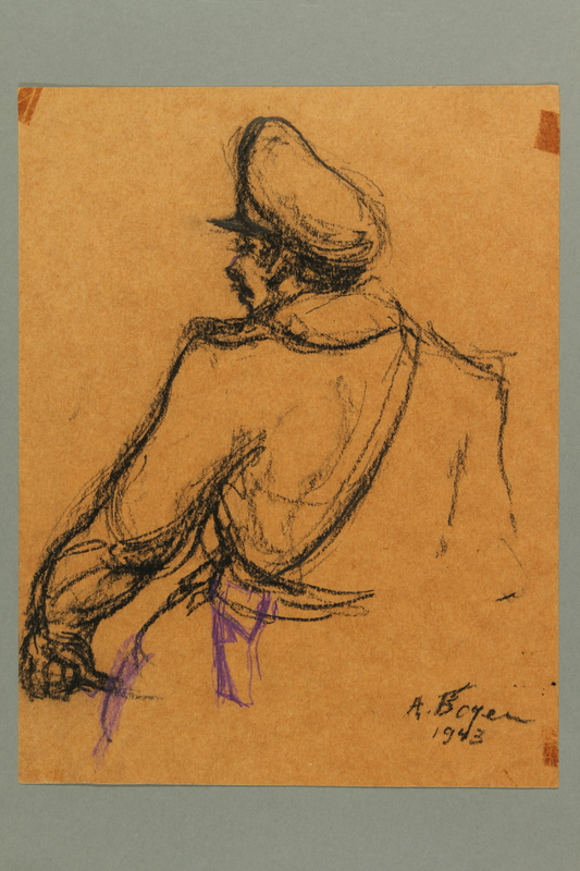 2005.181.57 front Drawing by Alexander Bogen of an SS officer