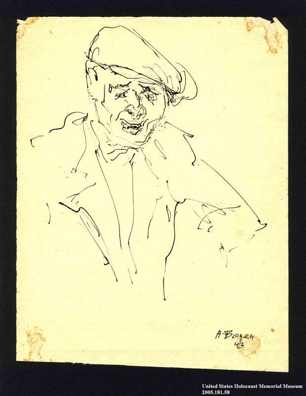 2005.181.58 front Portrait of a man in a cap, drawn by Alexander Bogen