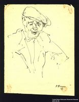 2005.181.58 front Portrait of a man in a cap, drawn by Alexander Bogen  Click to enlarge