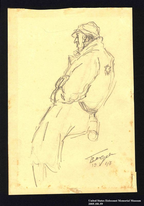 2005.181.59 front Drawing by Alexander Bogen of a man wearing a six-pointed star on the back of his coat
