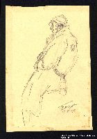 2005.181.59 front Drawing by Alexander Bogen of a man wearing a six-pointed star on the back of his coat  Click to enlarge